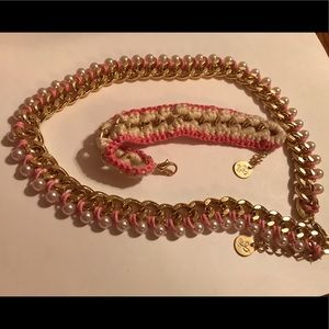 Plunder Gold and Pearl necklace and bracelet set